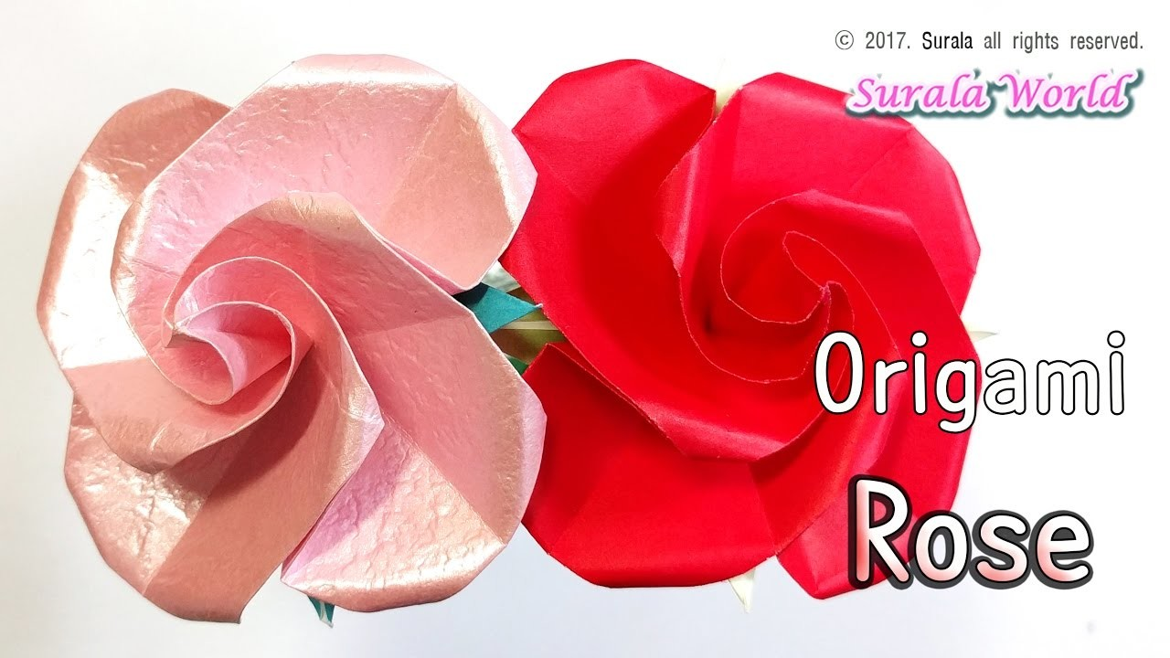 origami rose flower petals calyx stem my crafts and