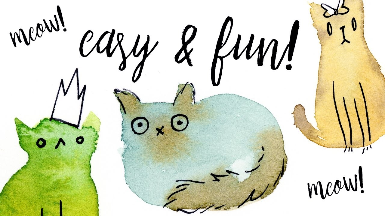 Painting Easy & Fun Watercolor Cats with Washes Tutorial. Illustration Ideas for Beginners