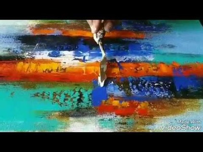 Abstract Painting. How to paint Acrylic abstract painting. Demonstration. Easy. Techniques