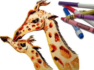????????????CHEAP ART SUPPLIES???????? How to Draw a Mother Giraffe and BABY ????????