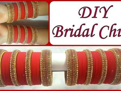DIY GOLDEN RED BRIDAL CHURA ::: SILK THREAD BANGLES.