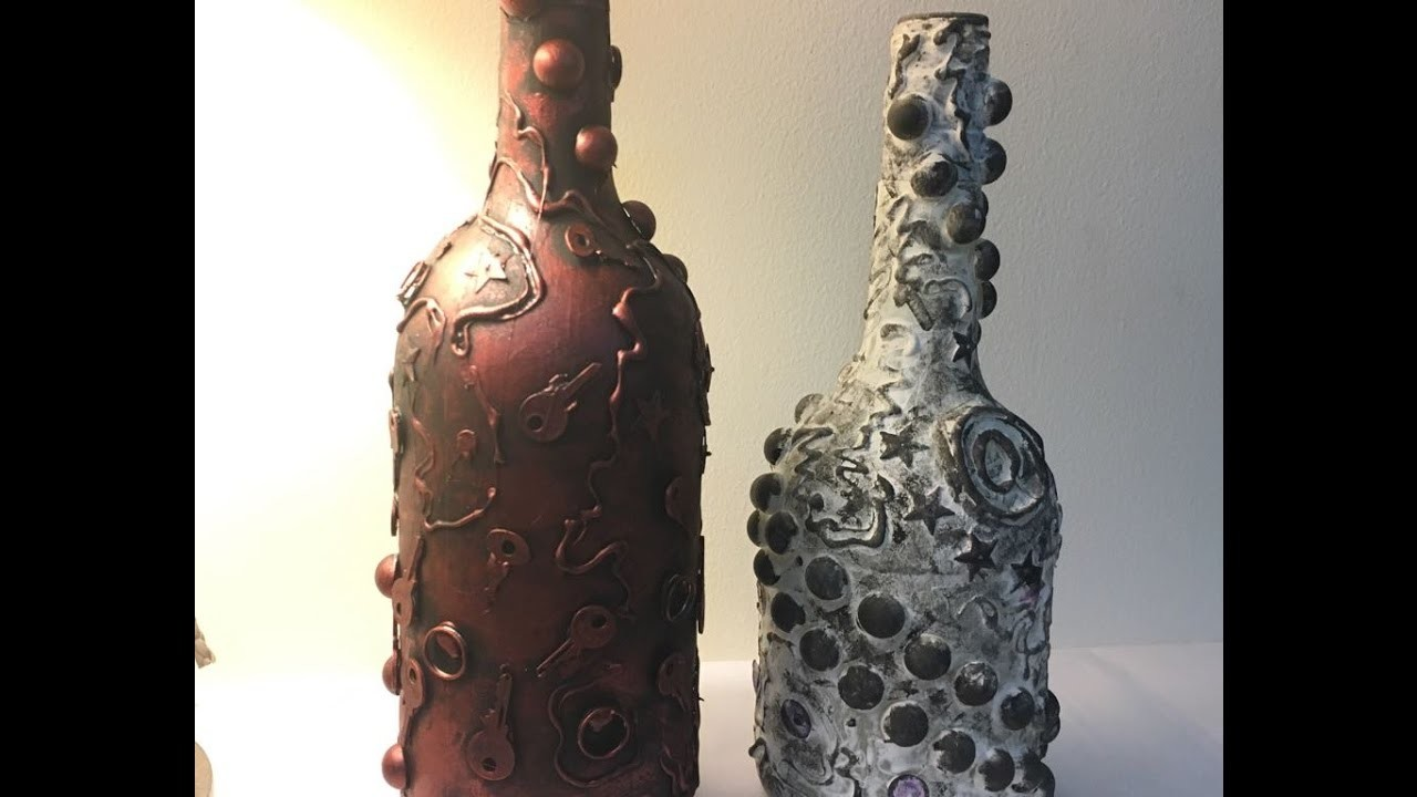 DIY Metallic And Stone Look To A Bottle