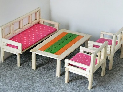 DIY Miniature Furniture from chopsticks | Table & Sofa for dollhouse