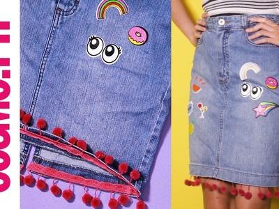 DIY Patch Denim Skirt With Pom-Pom Hem