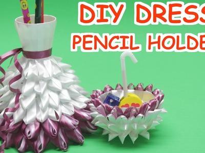 DIY Plastic Bottles Dress Pencil Holder 2 in 1- Plastic Bottle Crafts Ideas