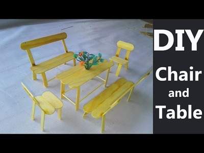 DIY popsicle stick table and chairs - Crafts for hamsters