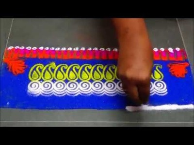 Fast Rangoli Easy Rangoli with Rangoli stencil How to make beautiful rangoli with stencils