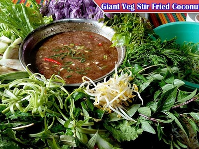 Giant Vegetables Stir Fried Coconut Sauce, How to cooking Khmer Food, Yummy Yummy