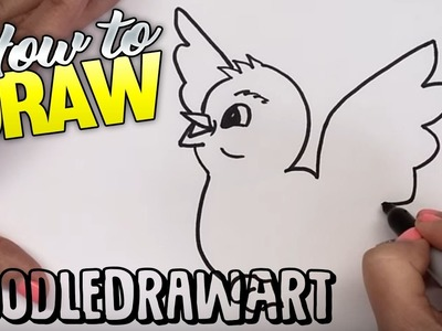 How to Draw  a Baby Bird Flying Step by Step - for kids!