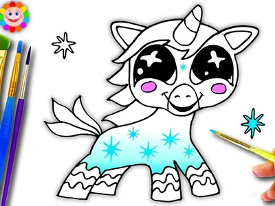 How To Draw A Cute Unicorn for Girls to learn Paint and Coloring Video
