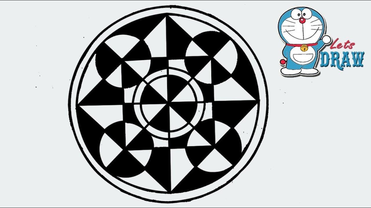 How to draw a design of circle, square and triangle Step by step
