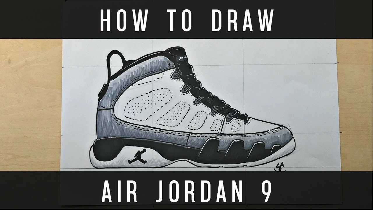 How To Draw: Air Jordan 9 w. Downloadable Stencil