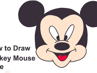 How to draw Mickey Mouse  Face - Easy step-by-step guide to Draw Mickey Mouse