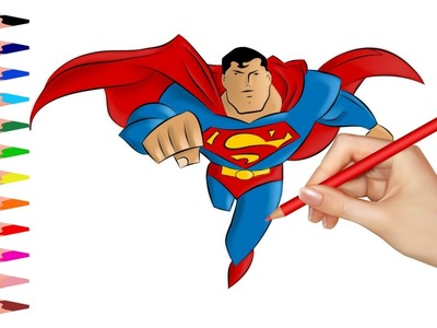 How to Draw Superman | Learn to Draw and Color Superman | Coloring Pages for Kids