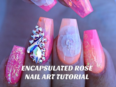 HOW TO: ENCAPSULATED NAIL ROSE & NEON OMBRE. MERMAID MYLAR nail art tutorial