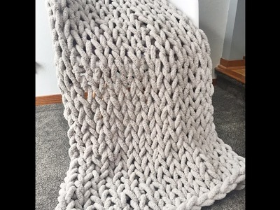 How to Hand Knit a Super Chunky Chenille Blanket 40x60 in. BeCozi