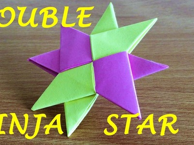 "How To Make a Double Ninja Star Shuriken Origami (11"" x 8.5"" paper size)"