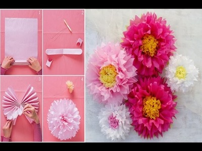 How to make a Giant Tissue Paper Flower very easily | Wall Art | Room Decor | DIY Paper Pom Tutorial