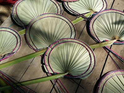 How to make amazing hand fan with palm trees leaf with village style