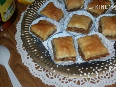 How to make baklawa balava with toasted almonds, lemon and honey using Filo pasrty!