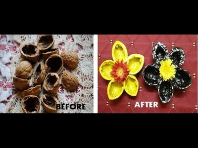 How to make beautiful flower using walnut shell DIY