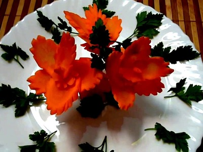 HOW TO MAKE CARROT FLOWER - VEGETABLE CARVING & ART IN CARROT  - CARROT GARNISH