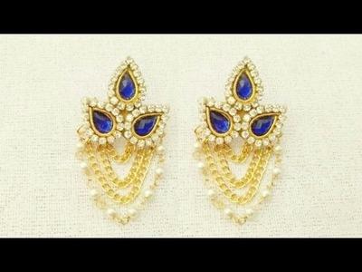 How To Make Designer Earrings. How To Make Bridal Earrings. Paper Jewellery Making.DIY
