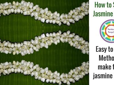 How to make Jasmine Garland || Thick jasmine string making tutorial || Jasmine garland