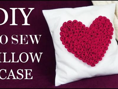 How To Make No Sew Easy Pillowcase  I DIY Room Decor I How To Make Felt Roses