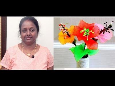 HOW TO MAKE STOCKING FLOWERS WITH LATHA MANI RAJKUMAR