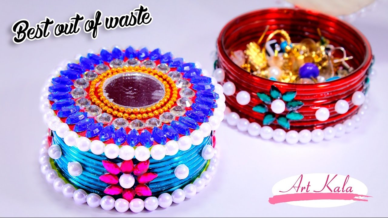 How to make storage boxes from old waste bangles best out for Best out of waste ideas from bangles