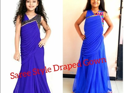 How to stitch SAREE STYLE DRAPED GOWN. SAREE LIKE GOWN