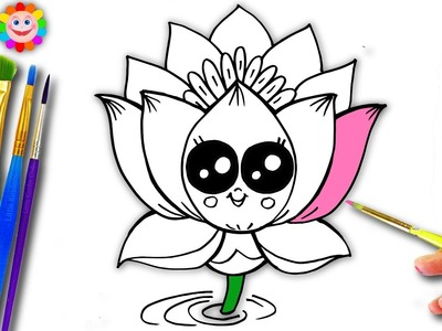 Learn How To Draw A Cute Lotus Flower | Easy Drawing And Coloring For Kids | Fun Learning Video