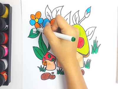 Learning Color vs How to Draw Fairy House and Coloring Pages Family Chicken For Kids