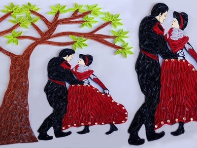 Paper Quilling tree With Dancing Couple for Wall Decorations | Indian Tradition |
