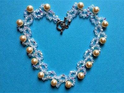 Pearl and crystal beads jewelry design. How to make an elegant necklace in 10 minutes