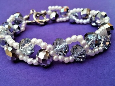 Pearls And Crystal Beads Bracelet Pattern. How to make an elegant bracelet in 10 minutes