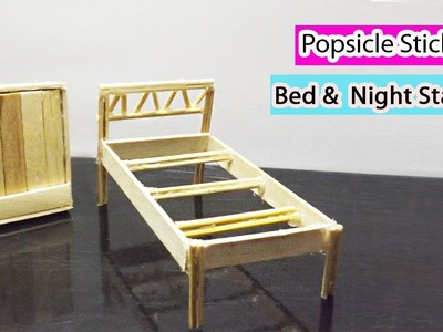 Popsicle Stick Crafts | How to Make Miniature Doll Bed and a Night Stand