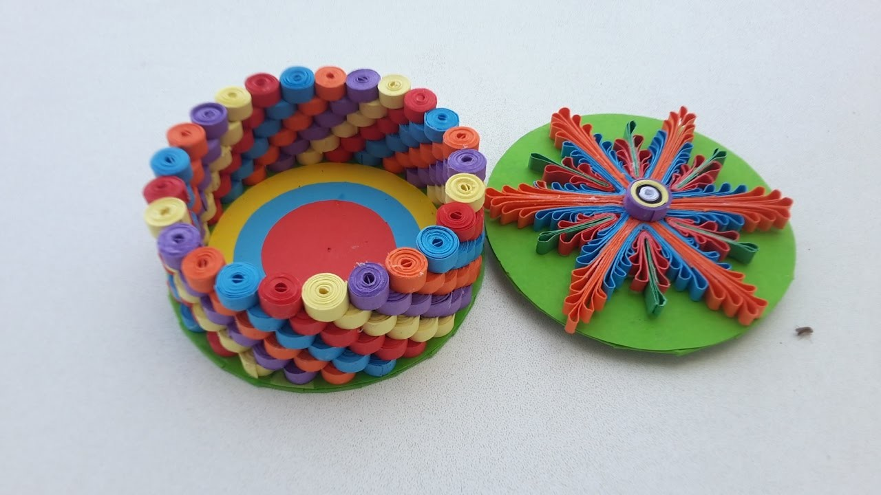 Quilled round box with paper quilling strips quilling for Quilling strips designs