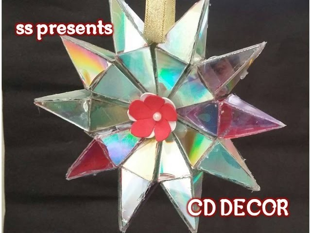 Recycled cd's diy room decor.How to make star use with cd's.recycled crafts