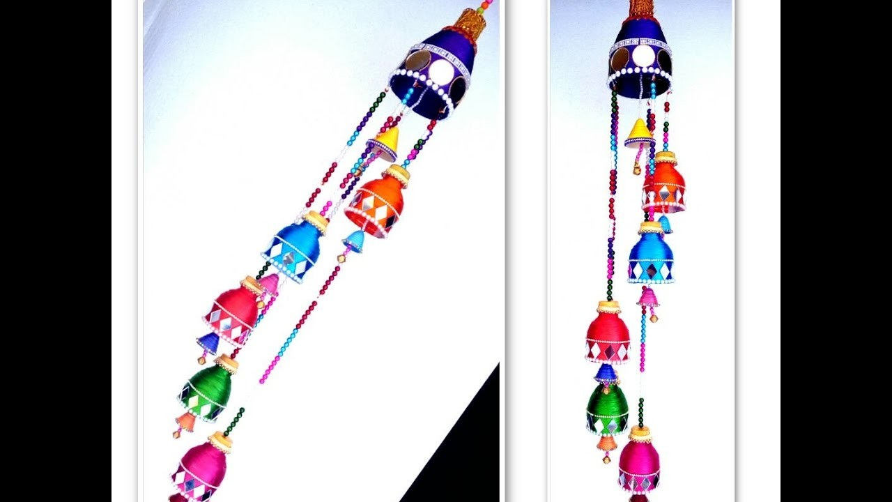 Wind chime out of plastic bottle wall hanging best out for Best out of waste wall hanging