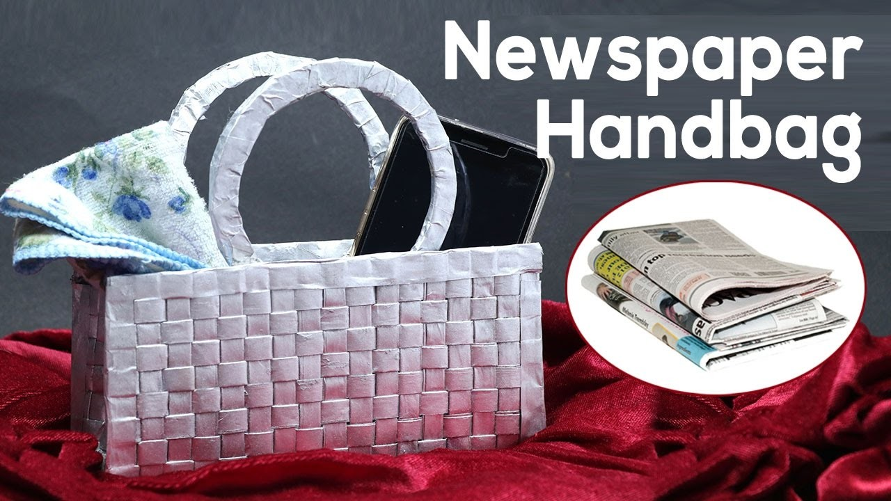 Best out of waste newspaper craft how to make a handbag for Waste crafts making