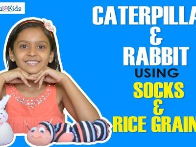 Caterpillar and rabbit using socks and rice grains   DIY craft