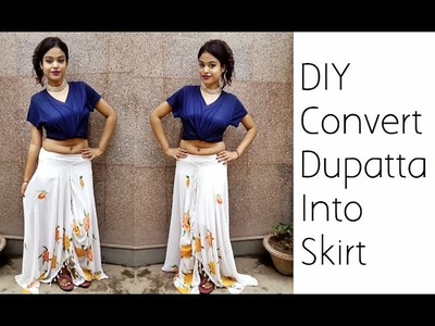 Convert Old Dupatta Into Skirt | D.I.Y | Refashion