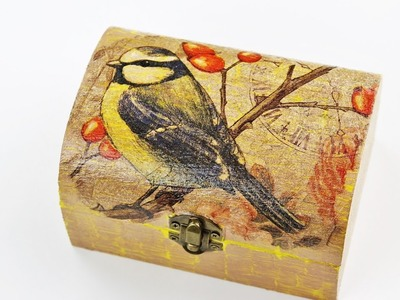 Decoupage wooden box with Easy Crackle - Fast & Easy Tutorial - DIY