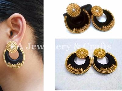 Designer Silk Thread Chandbali Earrings | DIY | Tutorial