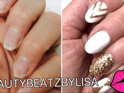 DIY AT HOME   EASY FAKE NAILS TUTORIAL THAT LASTS 3 WEEKS !! (NO ACRYLICS) -beautybeatzbylisa