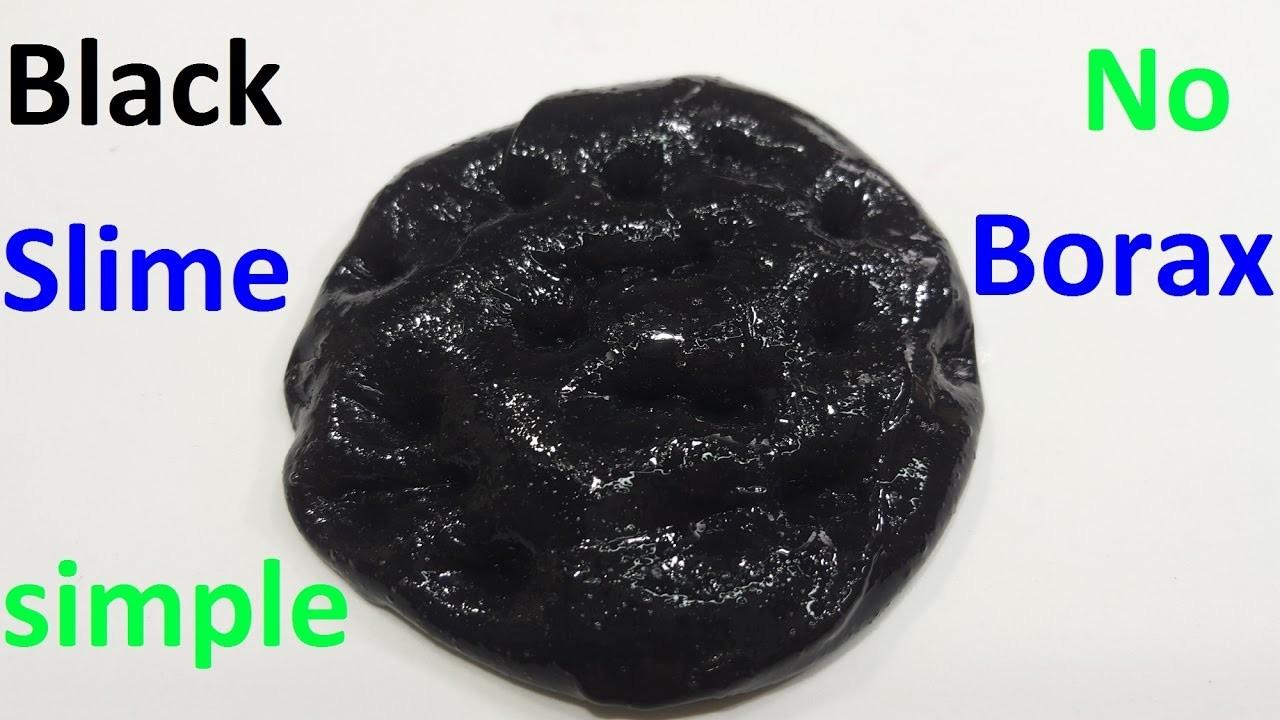 Diy Black Slime ! How to make slime Black No Borax Easy