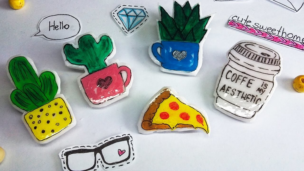 DIY Brooch | How to make Stickers - Plymer Clay Tutorial