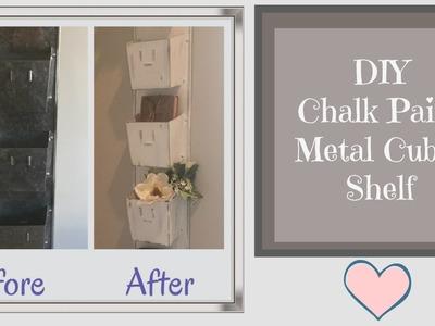 DIY Chalk Paint Metal Cubby Shelf Farmhouse Shabby Chic Style